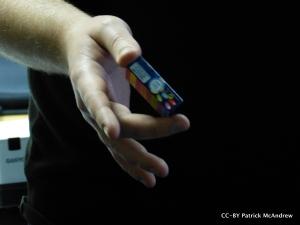 Rob's hand holding Smartie box